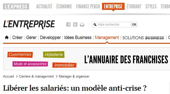 L'Entreprise (L'Express) : l'entreprise libérée = l'anti-crise