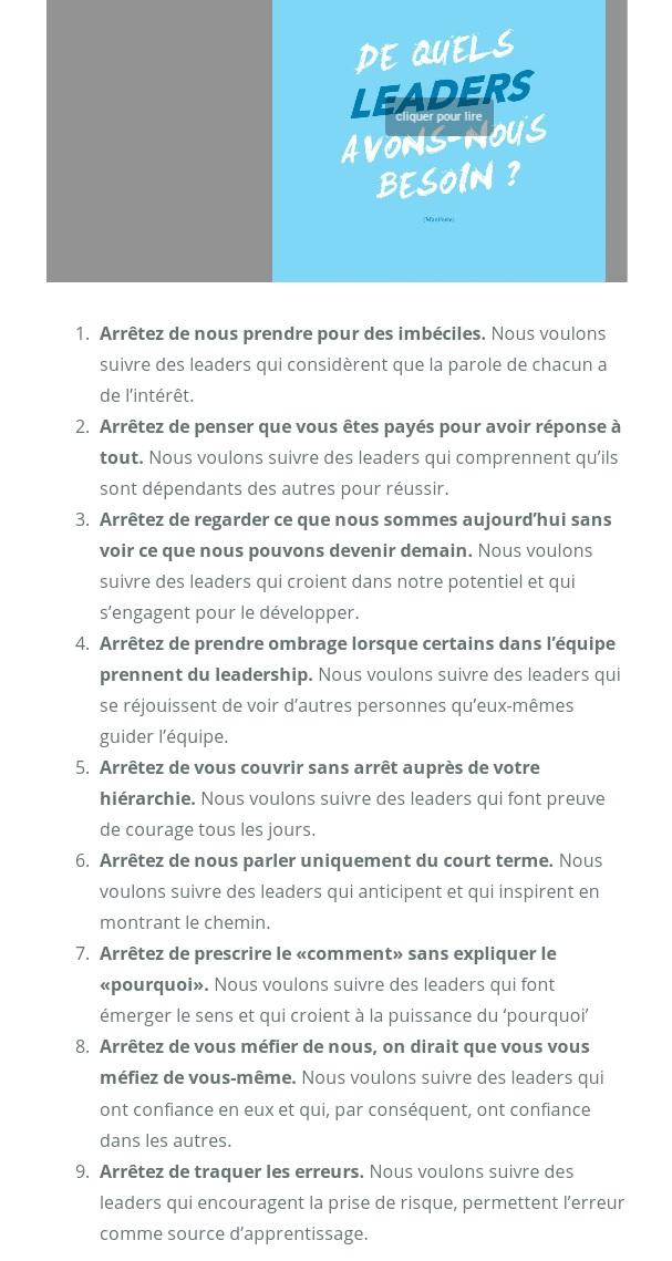 9 points du manifeste 'Quels Leaders' du World Forum Lille
