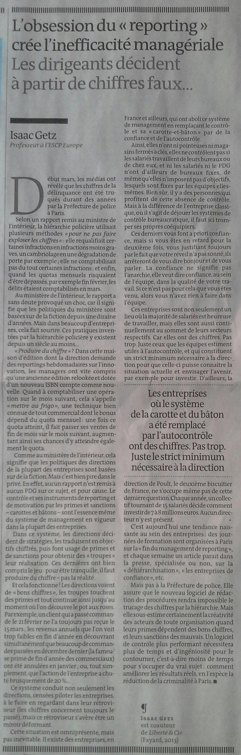 Le Monde, l'opinion, 9 mai 2014