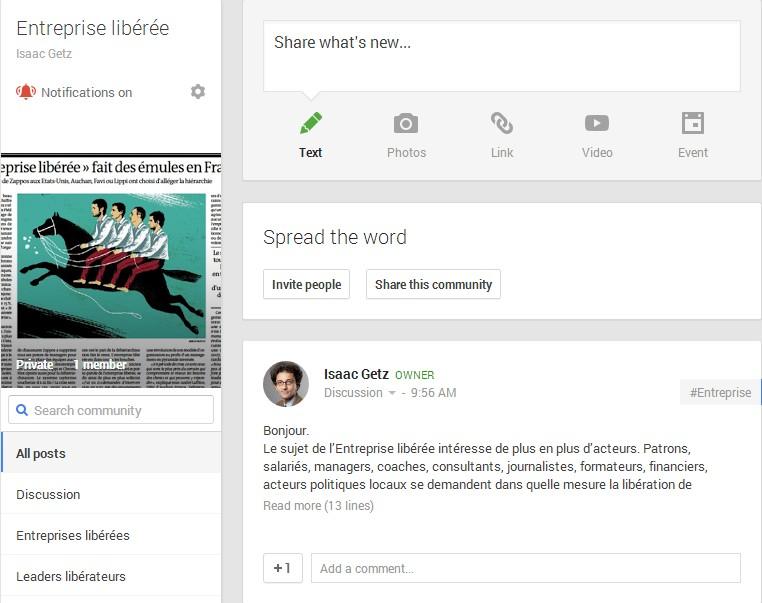 """Communauté Google+ """"Entreprise libérée"""""""