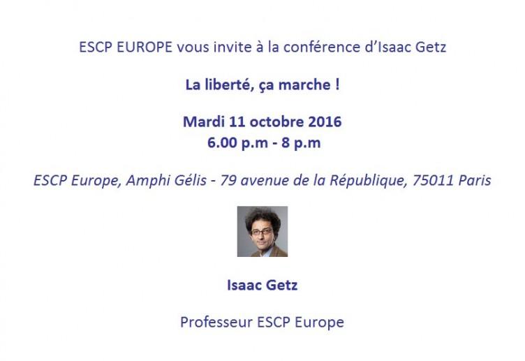 Conférence de lancement «La liberté, ça marche !» à l'ESCP Europe le 11 octobre