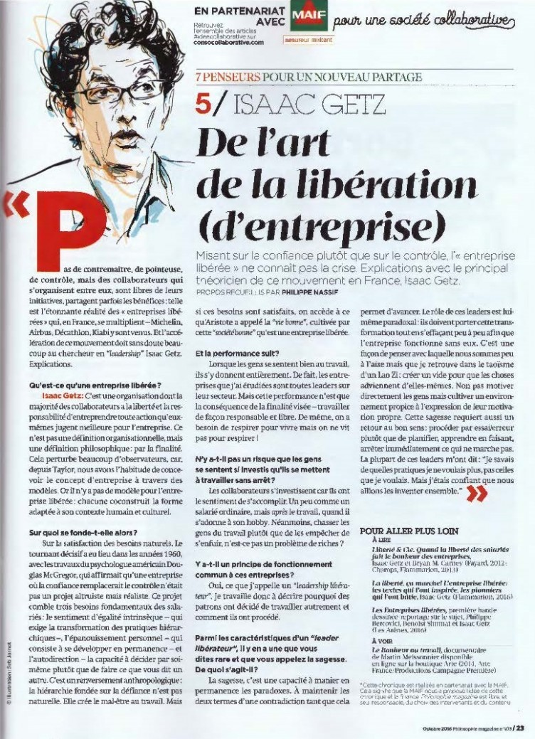 Philosophie Magazine s'intéresse à la libération d'entreprises