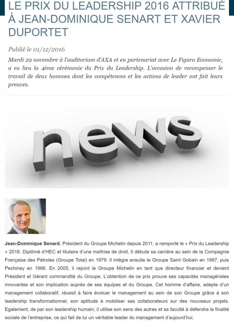 LE PRIX DU LEADERSHIP 2016 attribué à Jean-Dominique SENART